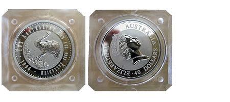 Australien 40 Dollar Emu 1996 Bu in eckiger Kapsel
