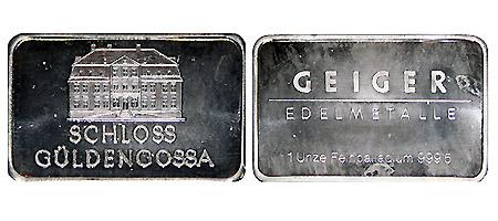 Barren Deutschland Geiger Edelmetalle Schloss Güldengossa 1 Unze Palladium 2009