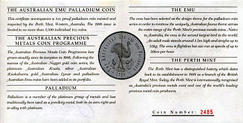Australien 40 Dollar Emu 1996 Proof COA RS