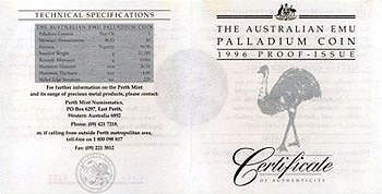 Australien 40 Dollar Emu 1996 Proof COA VS