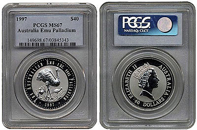 1997 Palladium Emu Bu in Coinslab PCGS