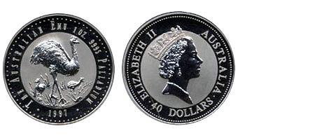 40 Dollar Emu Palladium 1997 Bu