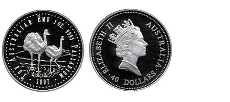 40 Dollar Australia Emu Palladium 1997 Proof